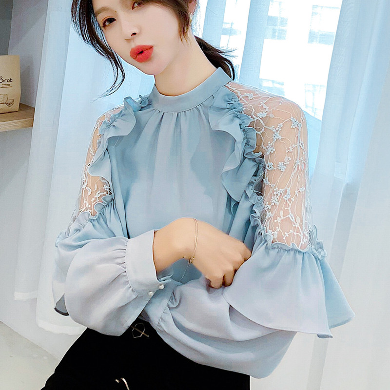 Korean Chiffon Blouses Women Lace Blouse Shirt Plus Size Woman Lantern Sleeve Ruffle Tops Solid Blouse Blusas Mujer De Moda 2020