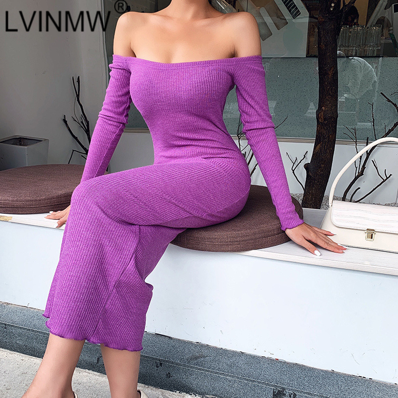 LVINMW Sexy Rib knitted Slash Neck Long Sleeve Slim Dress 2020 Spring Women Fashion Off shoulder Backless Dress Female PartyDresses   -
