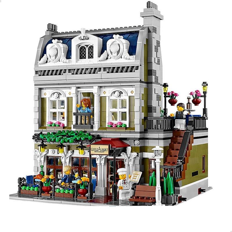 Novo grande conjunto de arquitetura blocos de construção criador especialista cidade rua paris restaurante casas europeias com figuras tijolos brinquedos