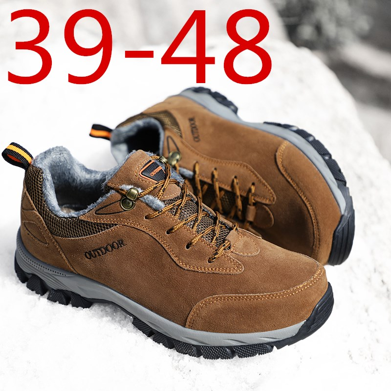 Large Size 39-49 Shoes Men Plus Velvet Outdoor Flat Shoes Male Winter Anti Slip Casual Shoes Men Cotton Lining Hiking Shoes Warm