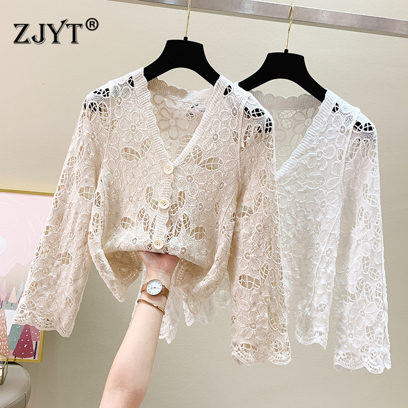 Elegant Lady Hollow Out Crochet Cardigan White Lace Shirts Women Fashion V Neck Long Sleeve Ins Blouse Office Party Tops Female