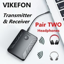 Bluetooth 5.0 Audio émetteur récepteur paire avec deux écouteurs Bluetooth 3.5mm AUX RCA adaptateur sans fil pour TV PC voiture haut-parleur