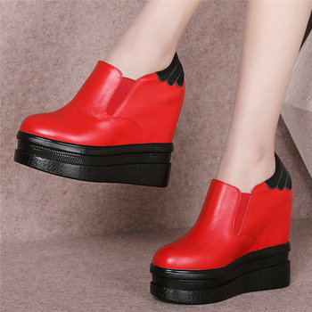 Wedges Platform Casual Shoes Women Genuine Leather High Heel Pumps Shoes Female Slip On Round Toe Fashion Sneakers Punk Trainers