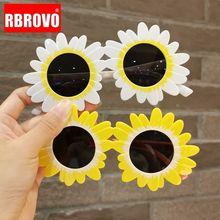 Funny Sunglasses Sun-Flower Girl Children Luxury Designer RBROVO Lentes-De-Sol Mujer