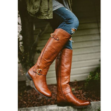 Thigh high Boots brown Women Vintage leather Square Heel Zipper knee height buckle Boot Keep Warm Round Toe Shoes British Style women genuine leather side zipper comfortable square heel knee high boots fashion round toe keep warm winter shoes b