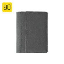 90FUN Top Layer Leather Card Holder Business Vertical Card Package Light Portable Passport Cover Credit ID Card Wallet