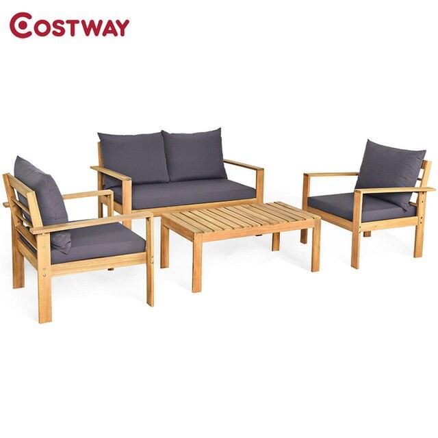 COSTWAY  4PCS  Wood Patio Set  1