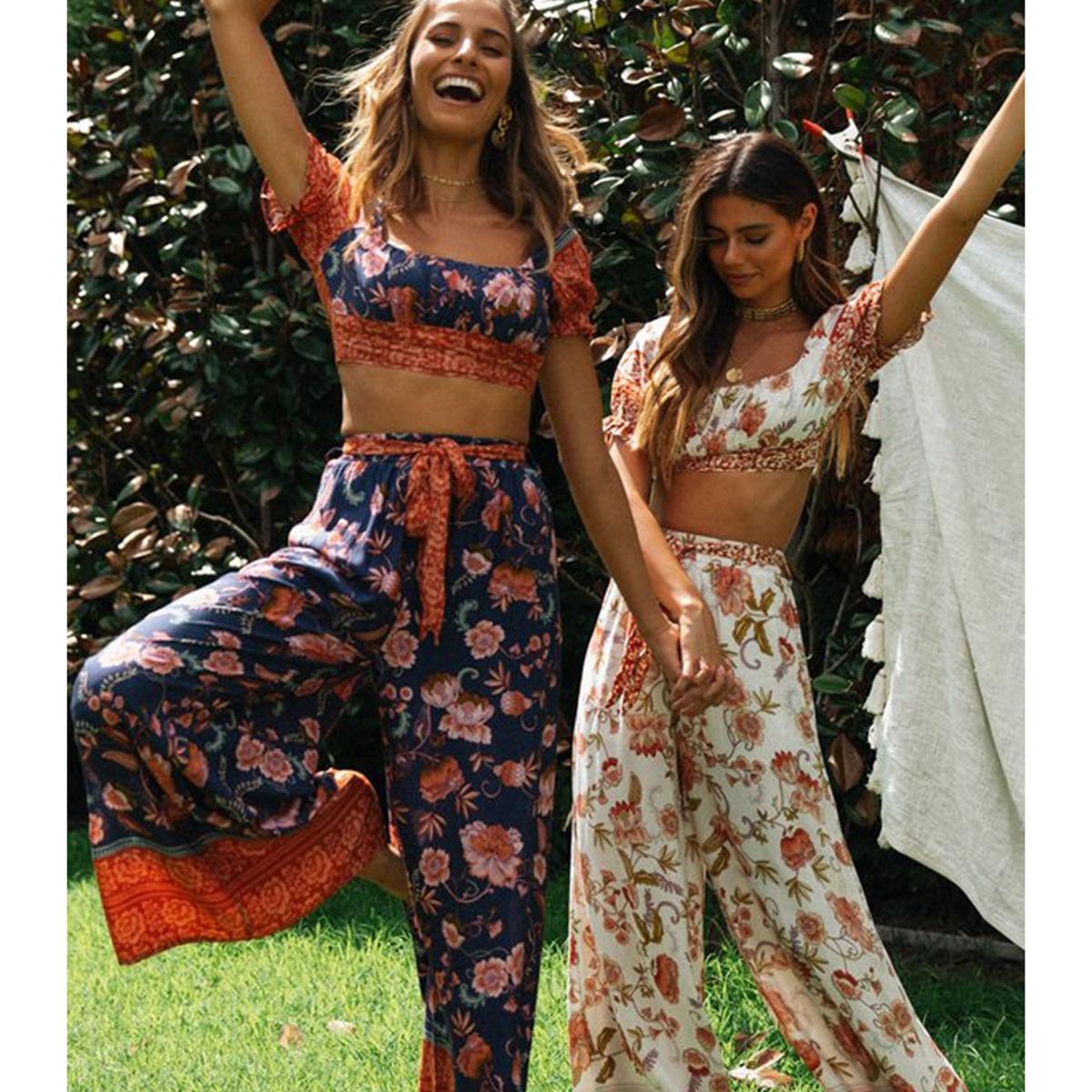 Sexy Floral Printed Blusas 2 Piece Set Vintage Puff Sleeve Short Tops Elastic Maxi Pant Summer Beach Boho Casual 2020 Women Sets