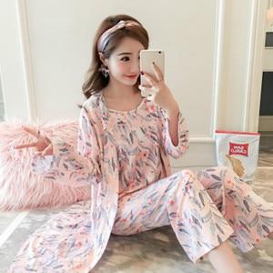 Image 3 - Suknia ustawia kobiety koreański styl codzienne drukowane słodkie szaty damskie modne oddychające eleganckie ubrania Homewear miękkie studenci kobieta