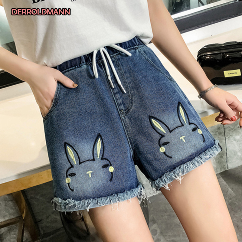 Women Short Pants High Waist Jeans Embroidery Picture Washed Denim Straight Pants Korean Jeans Woman
