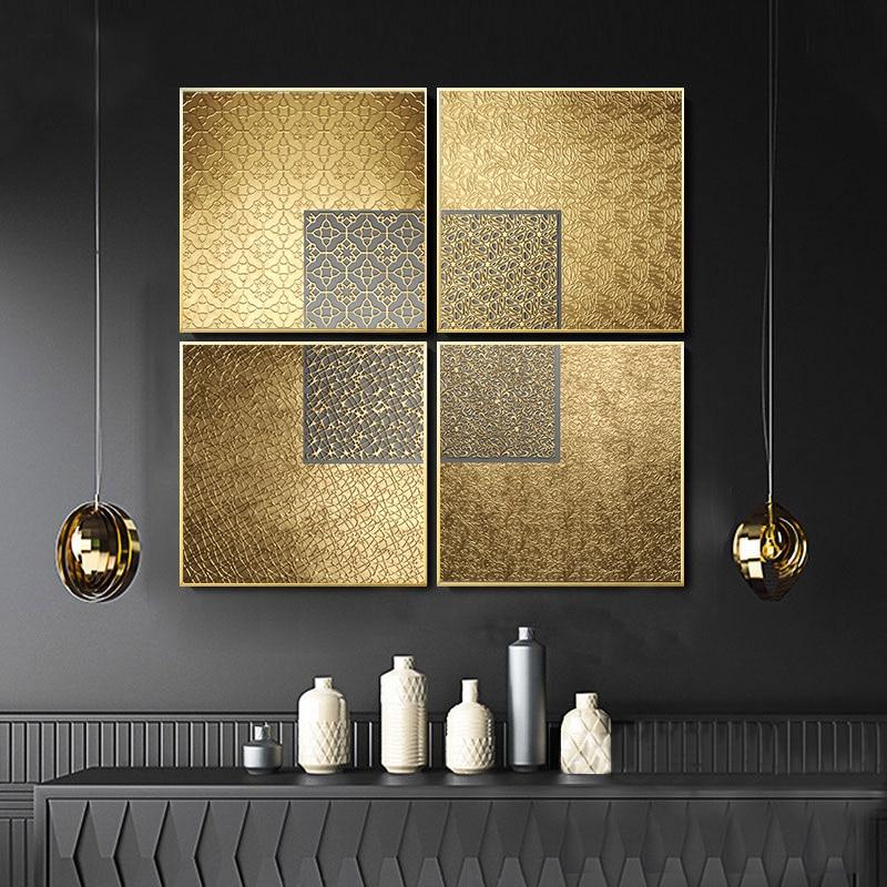Cartazes de luxo arte da parede moderna nordic abstrato geométrico abstrato ouro pintura da lona para o quarto sala estar decoração imagem