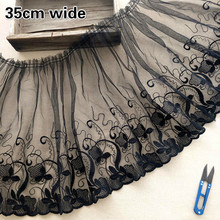 Black Transparent Mesh Embroidered Pleated Lace Fabric DIY Skirt Hem Cuffs Convenient Sewing Accessories Recommended Кружевной cat embroidered drop shoulder knotted hem shirt