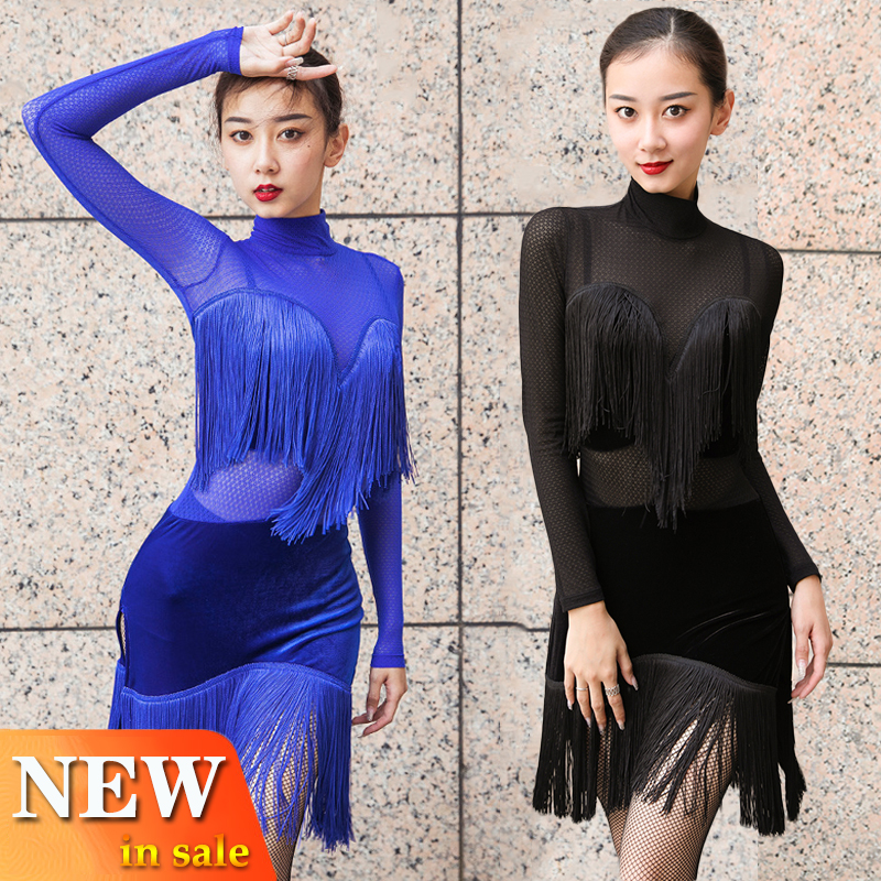 Latin Dance Dress Competition Costume Royal Blue Dress Dance Wear Ladies New Sexy Performance Clothing Rumba Fringe Dres BL2877
