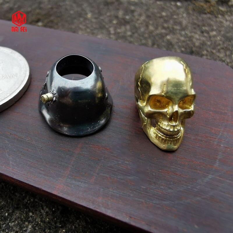 1 pièces 925 argent laiton crâne couteau perles à la main EDC parapluie corde couteau perles collier tête pendentif crâne peut être actif - 5