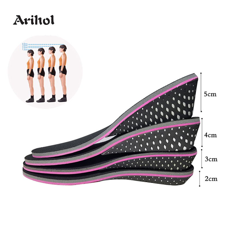 Memory Foam Height Increase Insole For Men Women Invisible Increased Lifting Inserts Shoe Lifts Elevator Insoles  (2 -5 Cm)