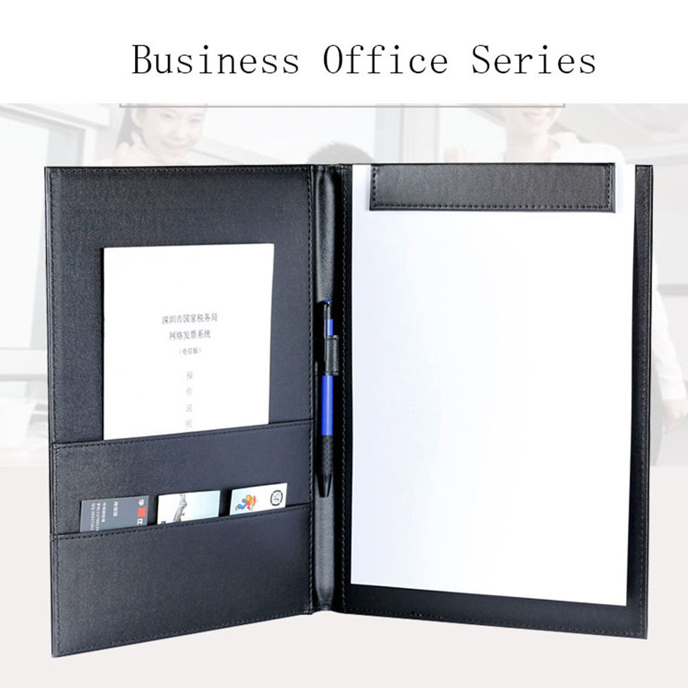 Business Office Supplies Contract Folder Manager Folder Hotel A4 Contract Signed Leather Black Conference Pad