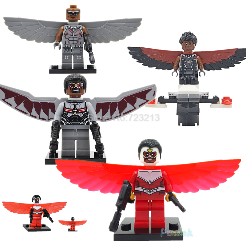 The Falcon Marvel Super Hero Figure Sam Wilson The Avengers Captain America Building Blocks Model Bricks Toys XH040 Legoing