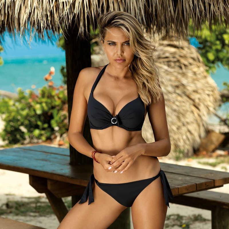 プラスサイズセクシーなビキニ2020プッシュアップビキニセットピンク水着女性マイクロ水着女性包帯biquiniビーチパーティー2のxl