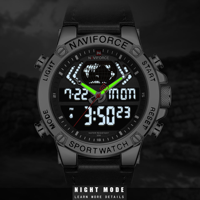 NAVIFORCE Watches Luxury Brand Leather Waterproof Sports Men's Watch Quartz Analog Digital Wristwatch With Box Set For Sale