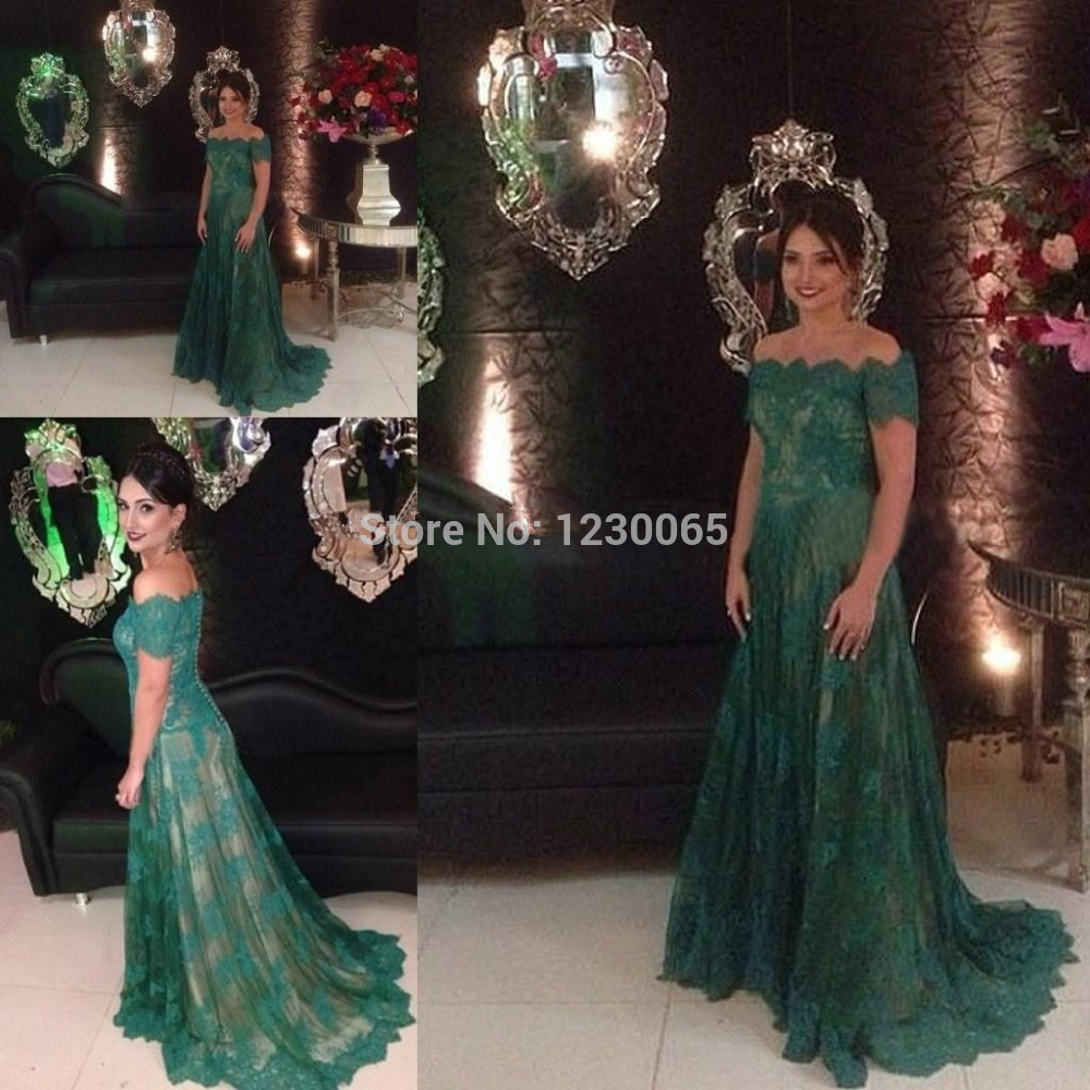 Free Shipping Dark Green Off The Shoulder Elegant Formal Evening Gown Sleeves Lace Prom Long Party Mother Of The Bride Dresses