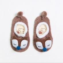 Зима тепло ребенок костюм мультфильм узор новорожденный малыш дети нескользящие носки тапочки пол носки девочки мальчики носки ботинки