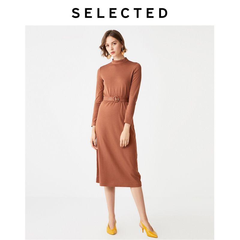 SELECTED Women's Autumn Slim Fit Mid-length Knit Dress S|419461501