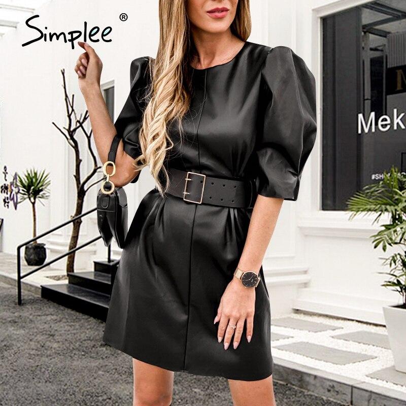 Simplee Puff Sleeve Pu Leather Dress Women Streetwear Sash Belt Female A-line Mini Dress High Waist Zipper Ladies Summer Dresses