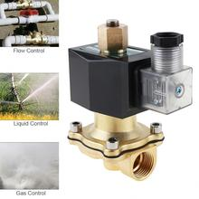 цена на Free Shipping Check Valve New 1/2 Inch Brass Solenoid Valve 12V DC Electric Air Water Gas Diesel Fuel DIN Coil Solenoid valve