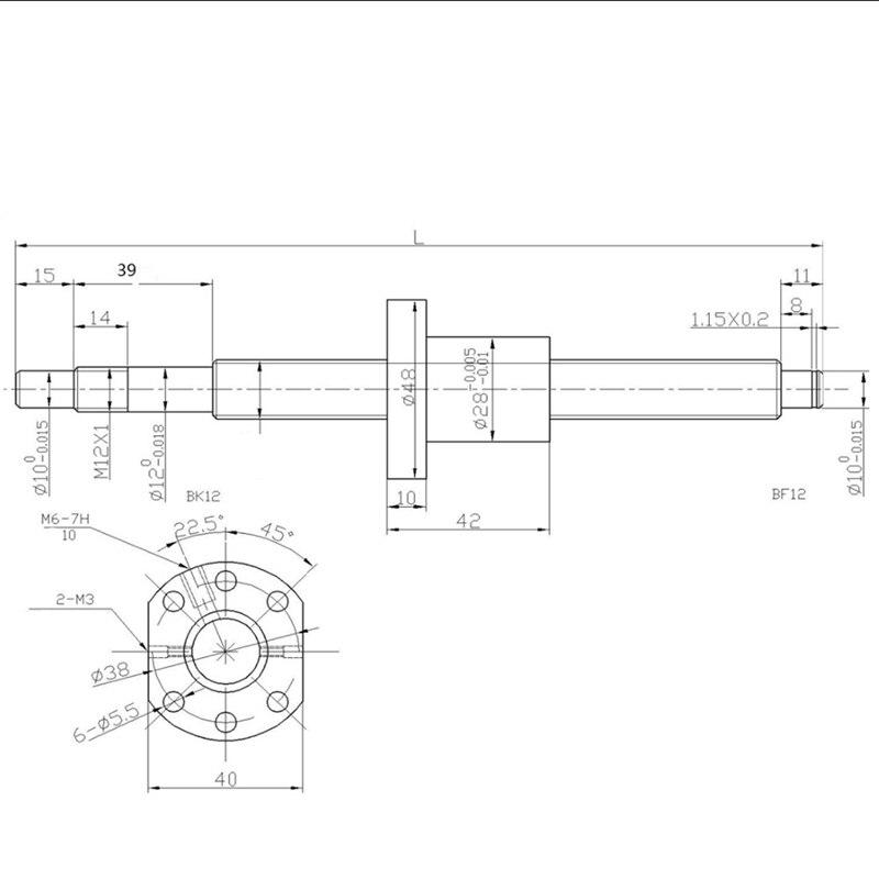 Ball screw RM1605--1500mm Anti-backlashed  BF12//BK12 Update Honor Bargain