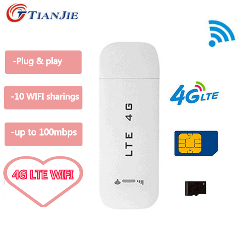 TIANJIE LTE USB Router 3G/4G Wifi Router Wireless USB Car Modem 4G Mini Wifi Stick Sim Card Data Mobile Hotspot Sim Card Dongle