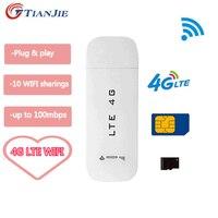 TIANJIE LTE Router USB 3G/4G Router wi-fi bezprzewodowy Modem samochodowy USB 4G Mini Wifi Stick karta Sim dane mobilny Hotspot karta Sim Dongle