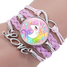 Детский плетеный браслет с единорогом для девочек, браслеты дружбы, ювелирные изделия, многослойный браслет с шармом, модное ювелирное изделие