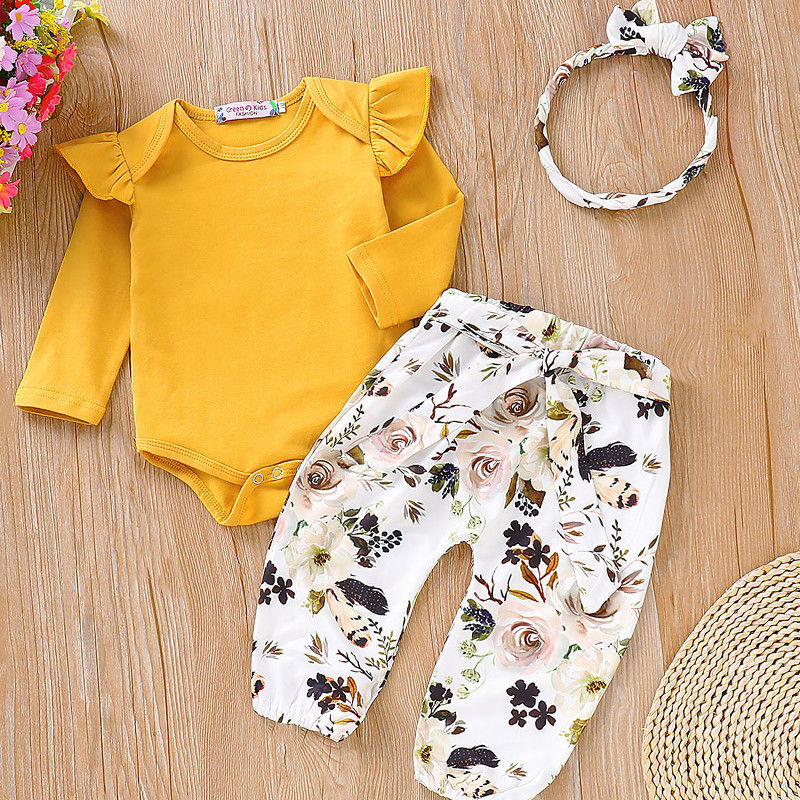 0-18M Autumn Winter 3 Pieces Newborn Baby Girl Clothes Set Infant Kids Long Sleeve Romper Tops+Pants Leggings Headband Outfits