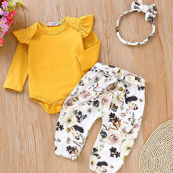 0-18M Autumn Winter 3 Pieces Newborn Baby Girl Clothes Set Infant Kids Long Sleeve Romper Tops+Pants Leggings Headband Outfits thanksgiving toddler kids baby girl clothes long sleeve tops plaid pants leggings headband 3pcs outfits clothes set
