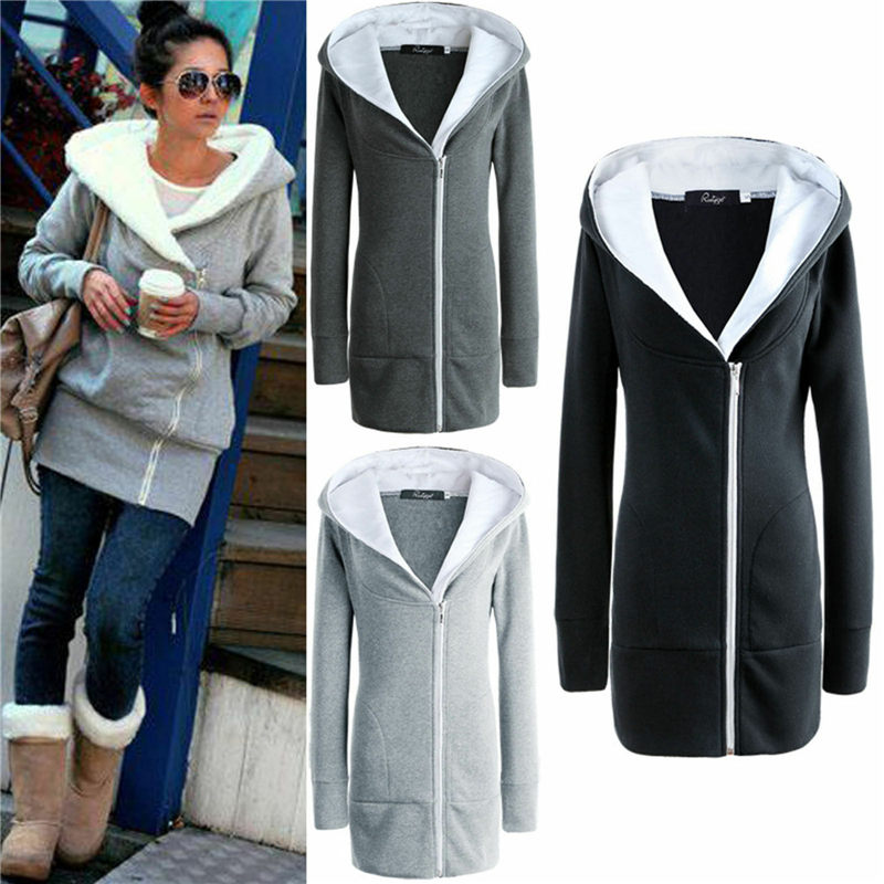 Casual Thick Fleece Warm Hoodies Sweatshirts Autumn Winter Women Zipper Hoody 2020 Long Sleeve Coat Jackets Outwear