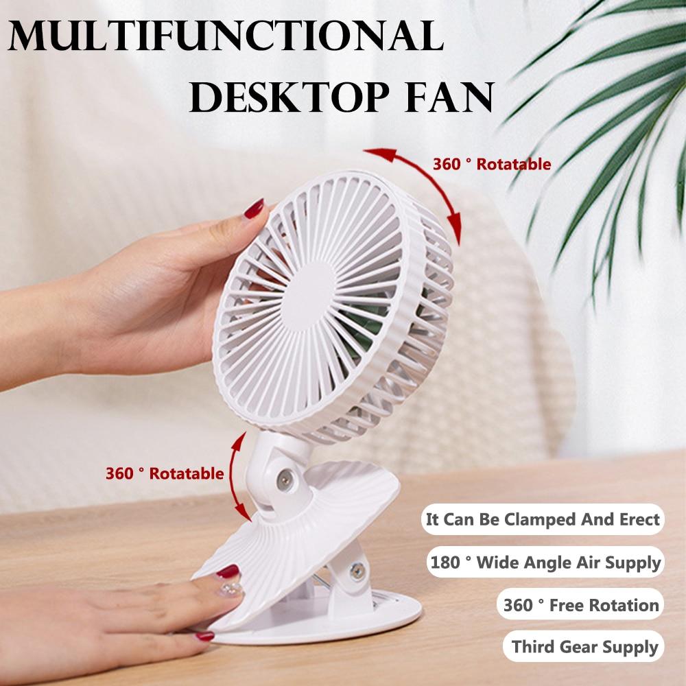 MIni Fan 2600mAh USB Desktop Fan Portable Clip Fan 3 Speeds Rechargeable Battery