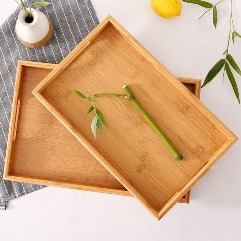 Сервировочный поднос из бамбука с ручками, поднос для чая, поднос для бара, поднос для завтрака, поднос для еды PXPC-2