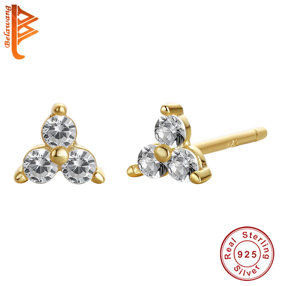 BELAWANG натуральная 925 стерлингового серебра мини лотоса серьги-гвоздики со стразами с украшением в виде кристаллов CZ 18K позолоченные свадебны...