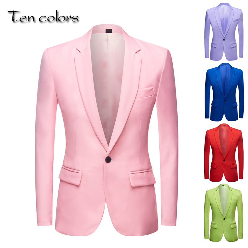 Men's Apple Green Yellow  Pink Blue  Red Colorful Fashion Suit Jacket Wedding Groom Stage Singer Prom Slim Fit Blazers