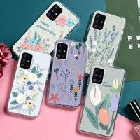 Clear Bloem Case Voor Samsung A51 A71 A32 A52 A72 Funda Voor Samsung A12 A31 A21S A30 A20 A50S A30S telefoon Bumper Soft Tpu Coque