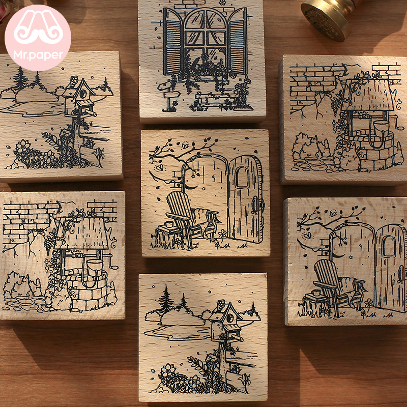 Mr Paper 4 Designs Fairy Tale Cartoon Scenery Series Square Wooden Rubber Stamps For Scrapbooking Deco Craft Wooden Stamps
