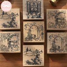 Г-н бумаги 4 дизайна сказки мультфильм декорации серии квадратные деревянные резиновые штампы для скрапбукинга деко ремесло деревянные штампы