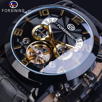 Forsining Tourbillion Black Golden Wave Dial Fashion Casual Design Men Watch Top Brand Mechanical Automatic Wrist Watch For Men top brand luxury forsining mechanical wrist watch men calendar black genuine leather strap popular automatic watch fsg231m3s2