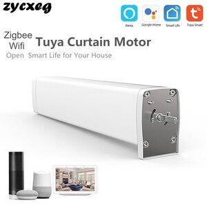 Image 1 - Wifi zigbee motor de cortina elétrico, controle remoto smart home tuya/controle de voz, compatível via alexa echo e google home