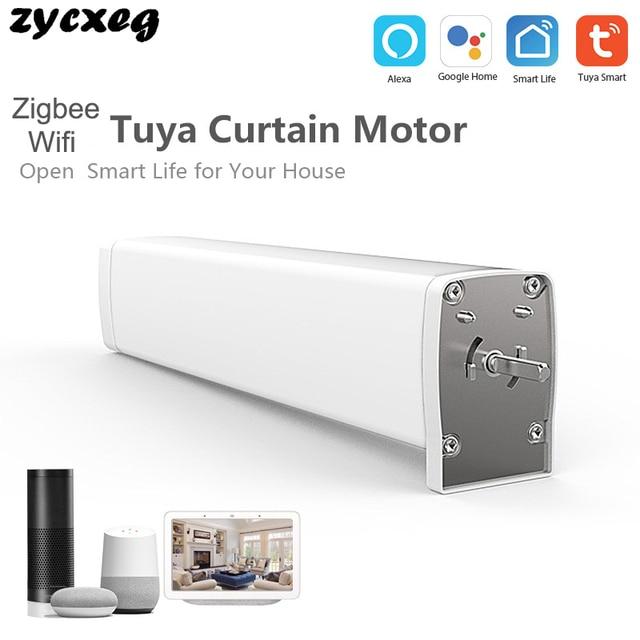 Wifi zigbee motor de cortina elétrico, controle remoto smart home tuya/controle de voz, compatível via alexa echo e google home