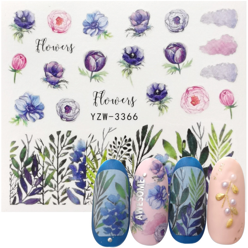2020 New Water Nail Stickers Flower Leaves Nail Art Water Transfer Stickers Decals Watermark Tattoo Manicure Decorations