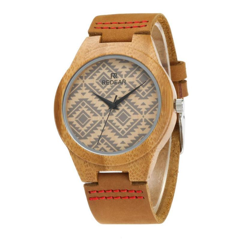 2019 New Arrival Wholesale Hot Style Bamboo Watch Men's And Women's Original Ecological Wood Contracted Classic Leather Strap