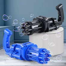Automatic Gatling Bubble Gun Machine 8 Hole Huge Amount Blowing Bubble Summer Outdoor Activities Fun Boy Toys For Kids Gift