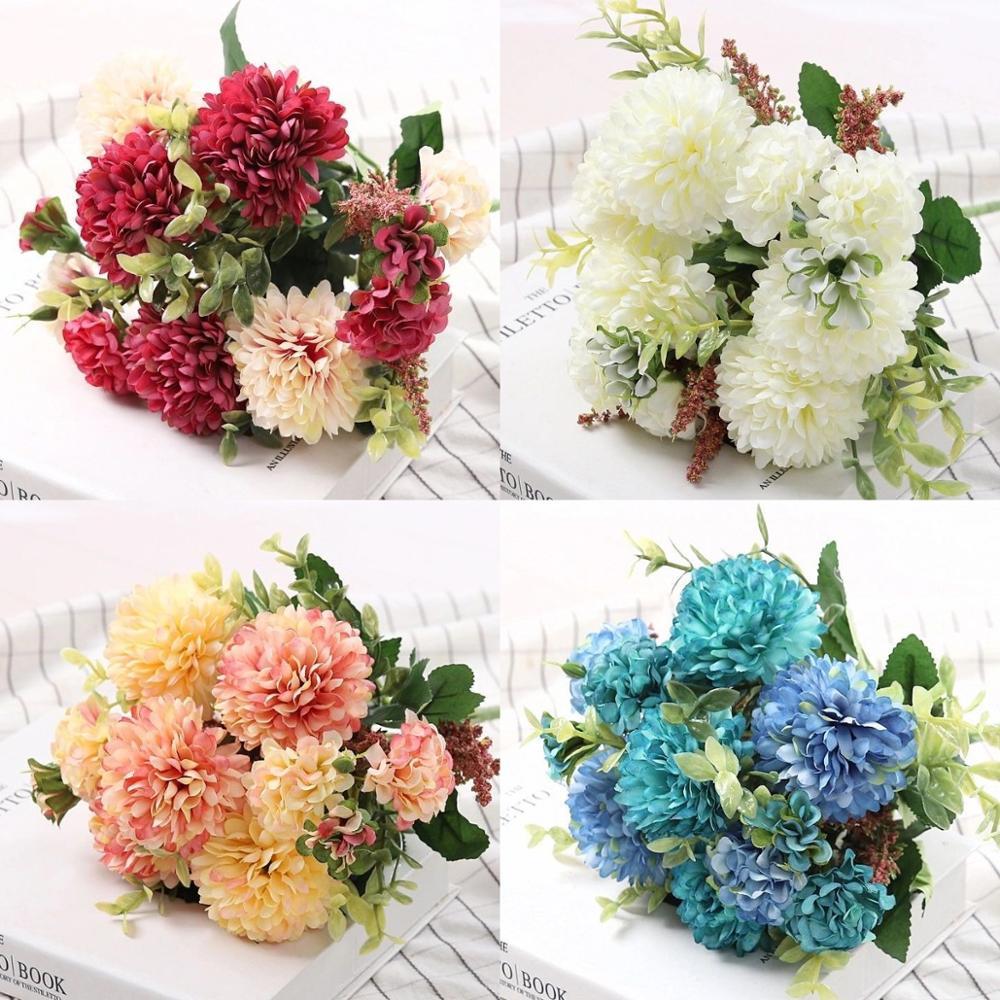 Pfingstrose Künstliche Blumen Hohe Qualität Luxuriöse Bouquet Hochzeit Dekoration für Home Decor Tabelle Sky Blau Gefälschte Blumen Hortensien