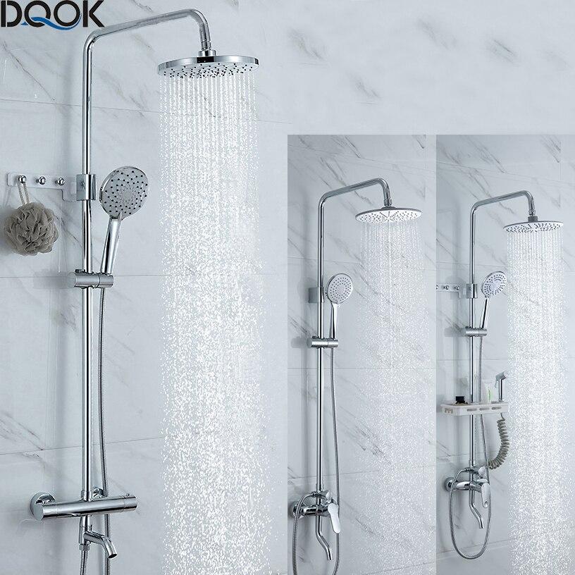DQOK Термостатический смеситель для душа Хромированный Цвет Ванная комната Ванна смеситель для душа набор водопад Дождь Душ Ванна кран краны